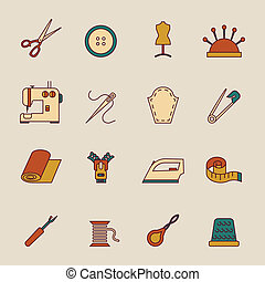 Sewing Equipment Icons Set - Sewing equipment icons set with...