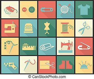 Sewing equipment icons set with thimble, needle and fabrics