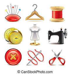 Sewing equipment icons vector set - Sewing equipment icons ...