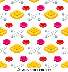 Sewing equpments, safety pins and buttons seamless pattern