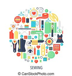 Sewing flat infographics icons in circle - color concept illustration for sewing cover, emblem, template.