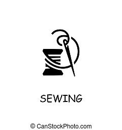 Sewing flat vector icon