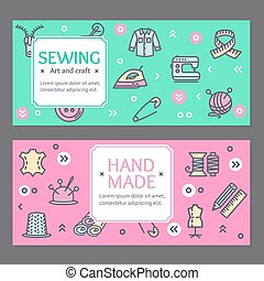 Sewing Flyer Banner Posters Card Set. Vector