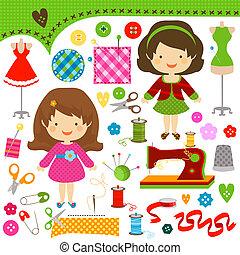 sewing girls - cute girls having fun sewing