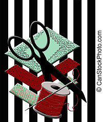 Sewing Graphic - Background graphic with scraps of...