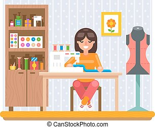 Sewing Hobby Work at Home Craft Flat Design Vector...