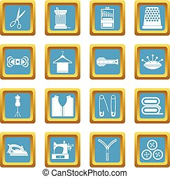 Sewing icons azure