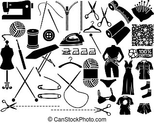 sewing icons (sewing equipment and needlework icons collection)