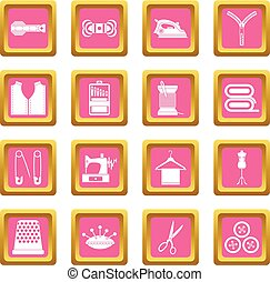 Sewing icons pink
