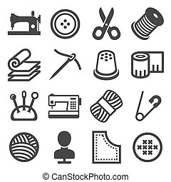 Sewing Icons Set on White Background. Vector