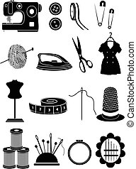 Sewing vector icons set in black.