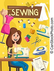Sewing items and tools, seamstress woman - Woman works on...