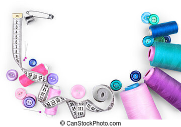 sewing items isolated on white background