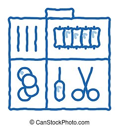 Sewing Kit Case doodle icon hand drawn illustration