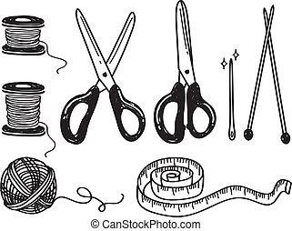 sewing kit doodle isolated on white background