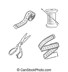 sewing kit doodle, sewing tools vector sketch illustration