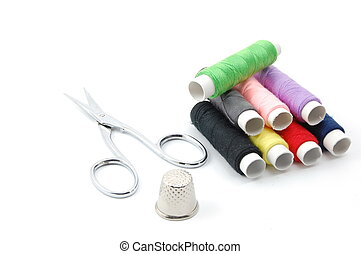 sewing kit isolated on a white background
