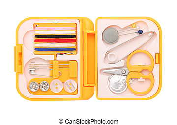 sewing kit  - Travel sewing kit isolated on white background