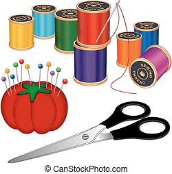Sewing kit with silver needle, spools of thread, scissors, pincushion, pins, isolated on white background for sewing, tailoring, quilting, crafts, embroidery, needlework, do it yourself projects. EPS8 compatible.
