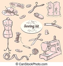 Sewing kit - Set of hand drawn elements sewing kit