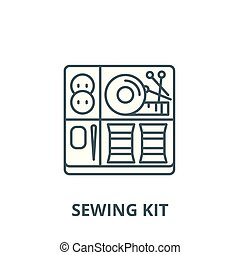 Sewing kit vector line icon, linear concept, outline sign, symbol