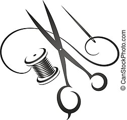 Sewing kit vector - Sewing kit silhouette simple vector