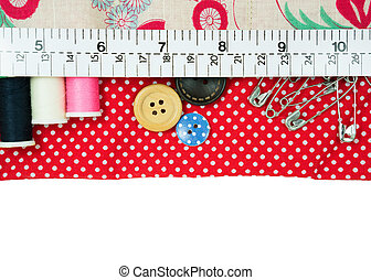 Sewing kit with fabric bag - Sewing kit in handmade fabric...