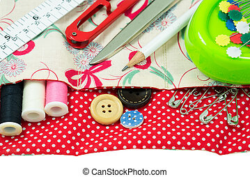 Sewing kit with handmade fabric bag