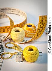Sewing kit, yellow, portrait