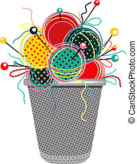 Vector EPS 8 graphic illustration of brightly colored yarn balls with needles and a thimble.