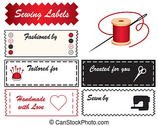 Sewing Labels - Sewing labels with needle, thread, buttons,...