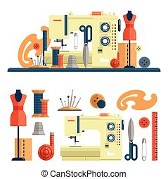 Sewing machine, accessories for dressmaking and handmade...