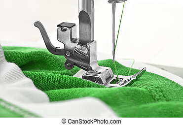 Sewing machine and item of clothing, detail