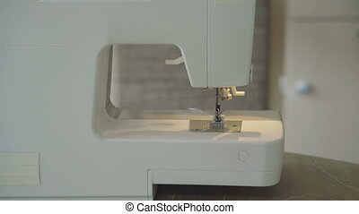 sewing machine at home close up