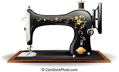 Close up classic design of sewing machine