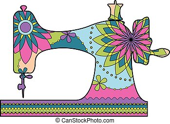 Sewing machine colorful - Vector sewing machine colorful