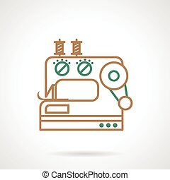Sewing machine flat line vector ico