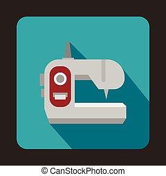 Sewing machine icon, flat style