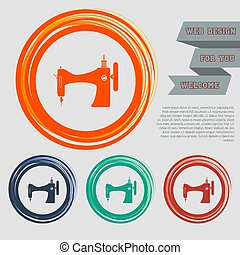 Sewing Machine icon on the red, blue, green, orange buttons for your website and design with space text. Vector