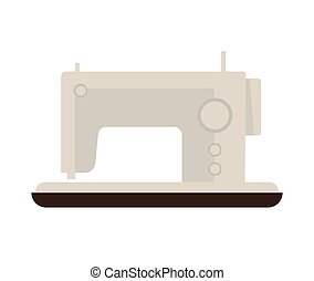 Sewing machine isolated on white vector flat illustration