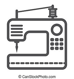 Sewing machine line icon, household and appliance, vector...
