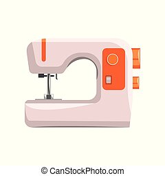 Sewing machine, modern equipment of dressmaker vector Illustration on a white background