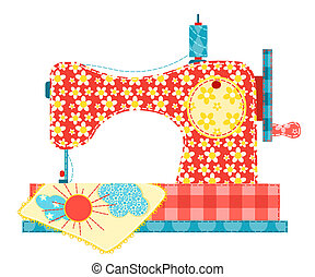 Sewing machine isolated on white. Patchwork series. Vector illustration.