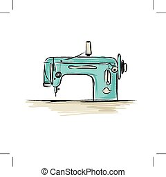 Sewing machine retro sketch for your design