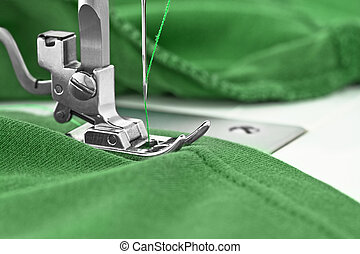 sewing machine - Sewing machine and item of clothing, detail