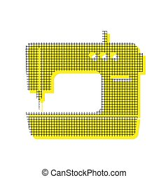 Sewing machine sign. Vector. Yellow icon with square pattern dup