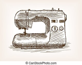 Sewing machine sketch style vector illustration