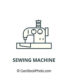 Sewing machine vector line icon, linear concept, outline sign, symbol