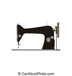 Sewing machine vector vintage illustration icon tailor old fashion logo sew isolated retro