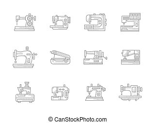 Sewing machines flat line vector icons set